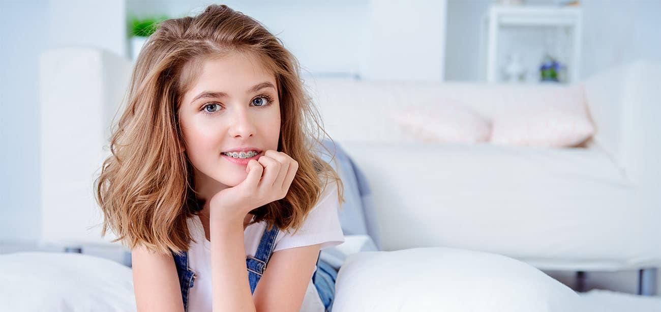 happy girl with orthodontics
