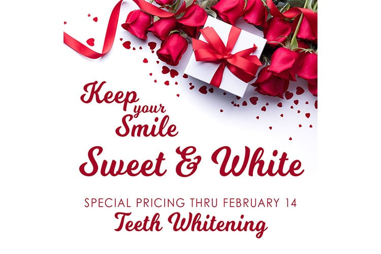 special pricing on teeth whitening with picture of flowers